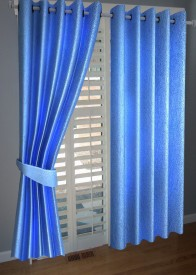 BNA Decor Polyester Blue Plain Eyelet Door Curtain