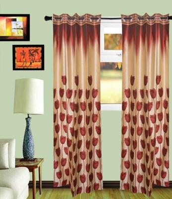 MF Polycotton Maroon Floral Eyelet Door Curtain