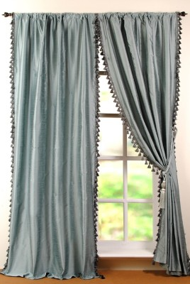 Deco Window Polyester Blue Floral Eyelet Window Curtain