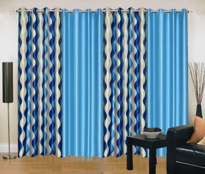 New Trends Polyester Blue Printed Eyelet Window Curtain