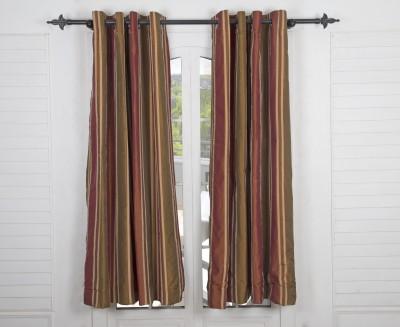 Maspar Cotton Brown Striped Eyelet Door Curtain