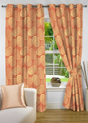 NuHome Decor Polyester Orange Geometric Eyelet Door Curtain