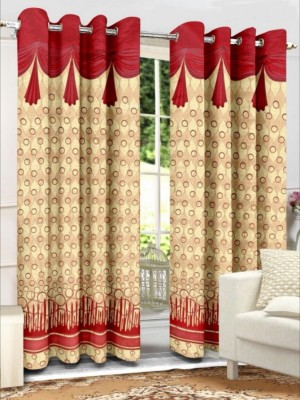 Sparrow Polyester Mehroon Abstract Eyelet Door Curtain