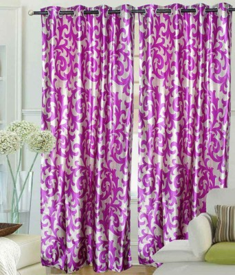 GrehSaaj Polycotton Pink Floral Eyelet Door Curtain