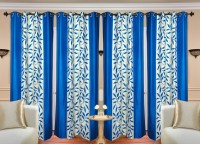 HDECORE Polyester Light Blue Abstract Eyelet Door Curtain(215 cm in Height, Pack of 4)