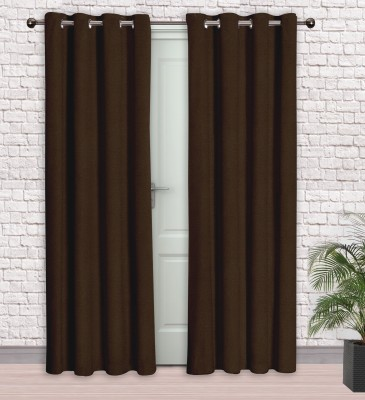Story @ Home Jacquard Dark Brown Printed Eyelet Door Curtain