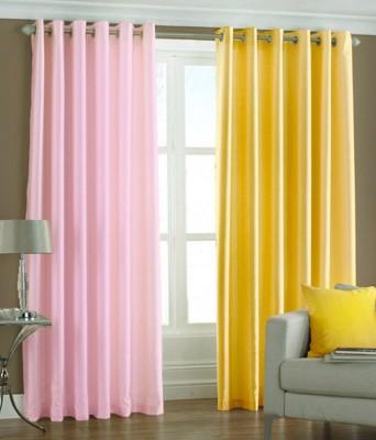 Export Hub Polyester Pink, Yellow Plain Eyelet Door Curtain