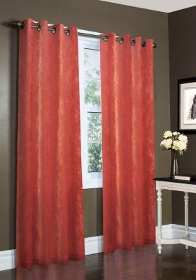 Laura Ethylene Vinyl Acetate Red Plain Eyelet Window Curtain