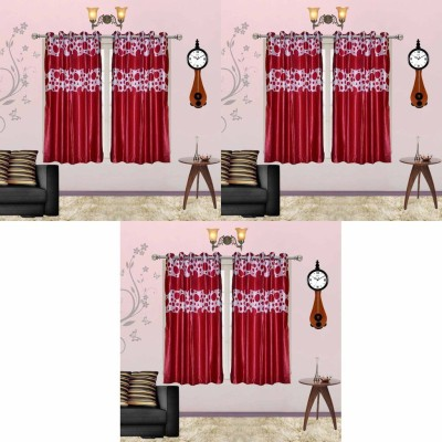 Go Decore Polyester Red Solid Ring Rod Window Curtain