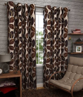 Angel Homes Polyester Brown Floral Eyelet Long Door Curtain