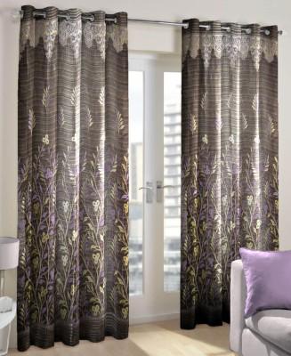 Just Linen Polyester Maroon Floral Eyelet Door Curtain