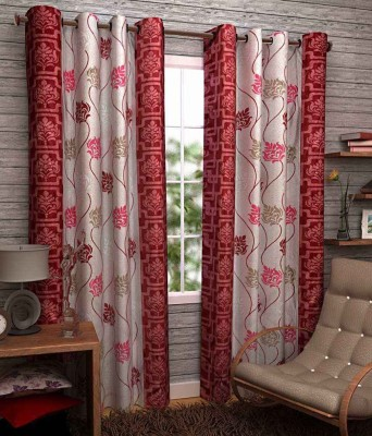 Divine Polyester Red Floral Eyelet Window Curtain