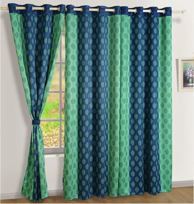 Swayam Silk Blue, Green Embroidered Eyelet Door Curtain