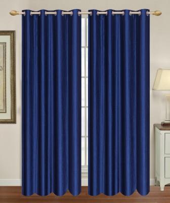HomeTex Polycotton Blue Plain Eyelet Long Door Curtain