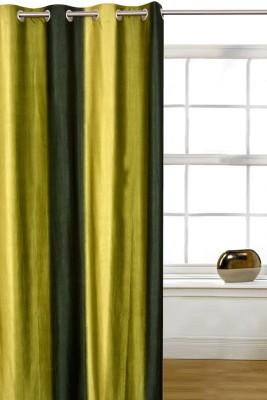 Shopcrats Polyester Green Solid Rod pocket Window & Door Curtain