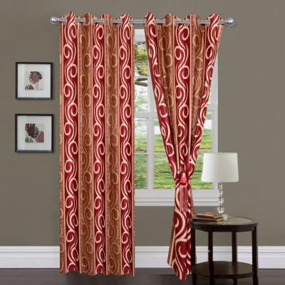 Swastik Polycotton Red Striped Eyelet Window & Door Curtain