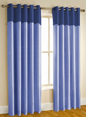 Kwality Blackout Polyester Blue Plain Eyelet Window & Door Curtain