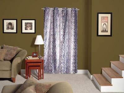 Tidy Polyester Grey Printed Eyelet Door Curtain