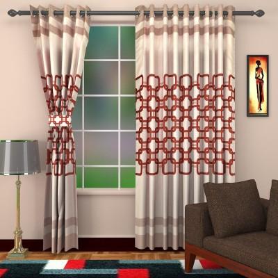 DBR Polyester Multicolor Abstract Eyelet Window & Door Curtain