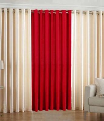 Trendz Home Furnishing Polyester Red Plain Eyelet Door Curtain