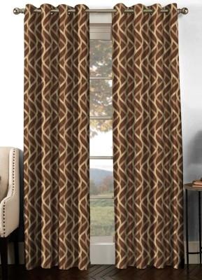 NuHome Decor Cotton Brown Geometric Eyelet Long Door Curtain