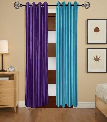Daddu Enterprises Polyester Multicolor Plain Eyelet Window Curtain
