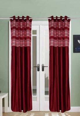 The Handloom Store Tissue, Polyester Maroon Plain Eyelet Long Door Curtain