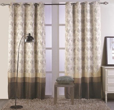 KC HOME Polycotton Beige, Brown Floral Curtain Window Curtain