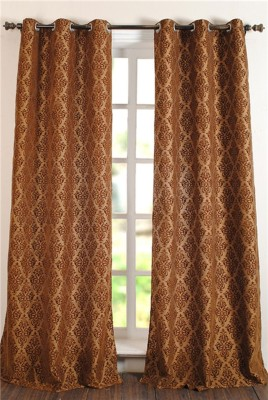 Deco Window Polyester Brown Motif Eyelet Door Curtain