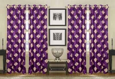 Thiwas Polyester Purple Checkered Eyelet Door Curtain