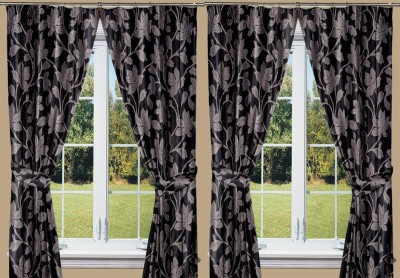 Threadmix Polyester Black Abstract Eyelet Window Curtain