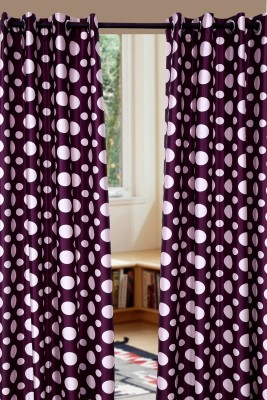 Jds Polyester Wine With Baby Pink Geometric Ring Rod Door Curtain