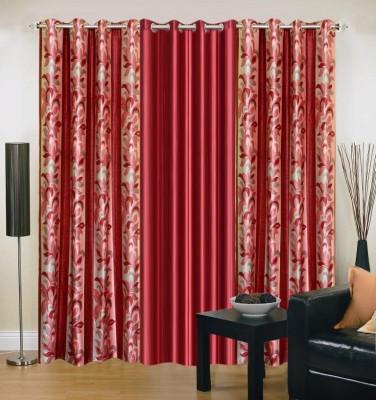 Excel Bazaar Polyester Maroon Floral Eyelet Door Curtain