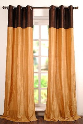 Deco Window Polyester Gold Geometric Eyelet Window Curtain