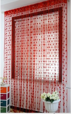 Jars Collections Polyester Red Self Design Eyelet Door Curtain