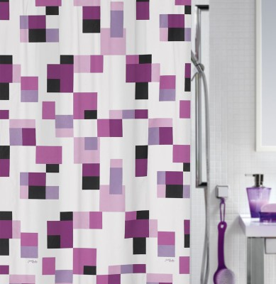 Spread Polyester Purple Printed Eyelet Shower Curtain