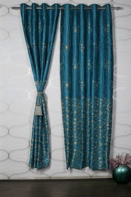 Homelife Jacquard Blue Self Design Eyelet Window Curtain