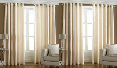Rangoli Polyester White Solid Eyelet Door Curtain