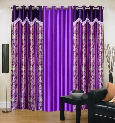 Brand Decor Polyester Blue, Purple Floral Eyelet Window Curtain