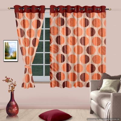 Cortina Polyester Orange Solid Eyelet Window Curtain