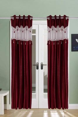 The Handloom Store Polyester, Tissue Maroon Self Design Eyelet Window & Door Curtain