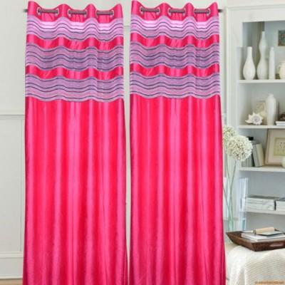 Swastik Polycotton Pink Plain Eyelet Long Door Curtain