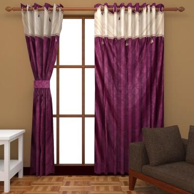 Royal Shri Om Polyester Purple Self Design Eyelet Door Curtain
