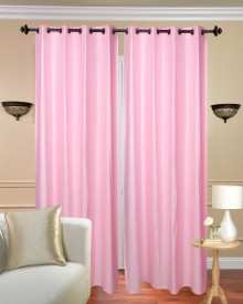Radhy krishna overseas Polyester Light pink Plain Eyelet Door Curtain(212 cm in Height, Pack of 2)