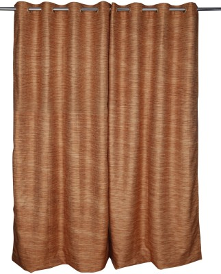 Just Linen Polyester Orange Striped Tab Top Door Curtain