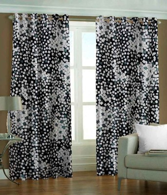 Fresh From Loom Polyester Black Checkered Curtain Window Curtain