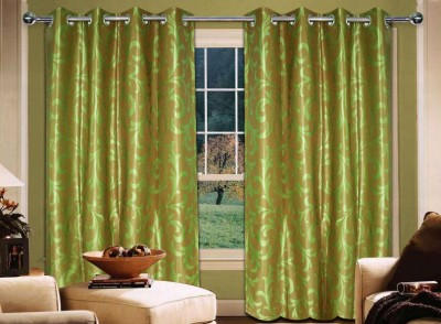 Home Creations Polyester Green Floral Eyelet Door Curtain
