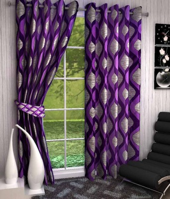 Divine Polyester Purple Abstract Eyelet Door Curtain