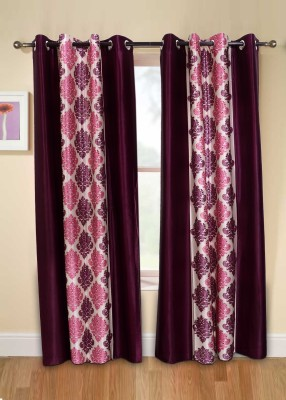 Jds Polyester Pink Printed Eyelet Door Curtain