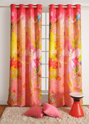 Swayam Cotton Pink, Yellow Printed Eyelet Window Curtain